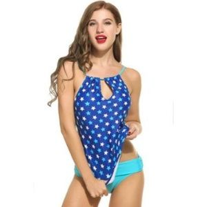 Blue and White Keyhole Tankini With Cheeky Bottoms
